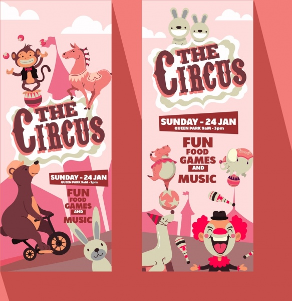 circus leaflet templates funny animals icons decor