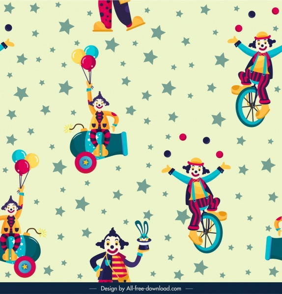circus pattern template funny clown icons sketch free vector in