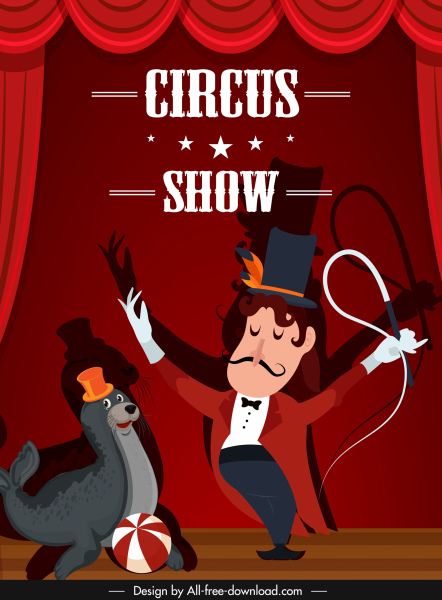 circus poster stage performance sketch cartoon design