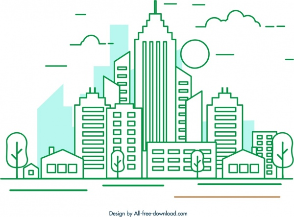 city background buildings icon colored flat outline