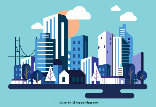 city background colored contemporary architectures sketch