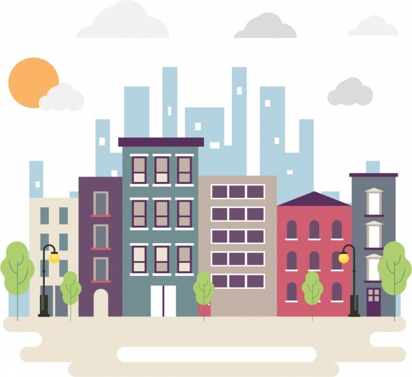 city background high buildings icons colored flat design