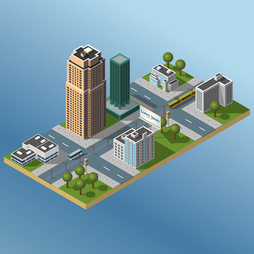 city buildings flat template vector