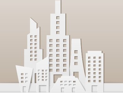 city buildings paper cut creative vector