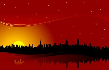 city highrise buildings under the red sunset silhouette vector