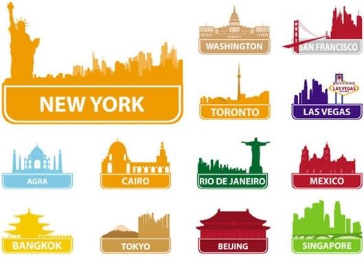 city landmarks silhouette vector