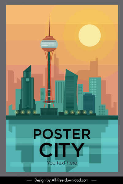city poster colored flat sketch modern decor