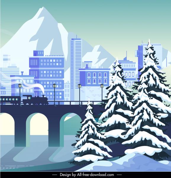 city scene background cold winter sketch
