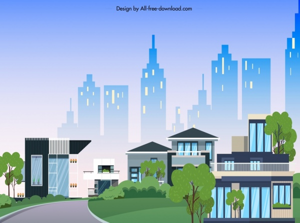 city scene background colorful modern design cartoon sketch