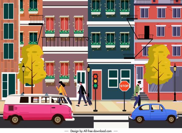 city scene painting buildings pedestrians cars sketch