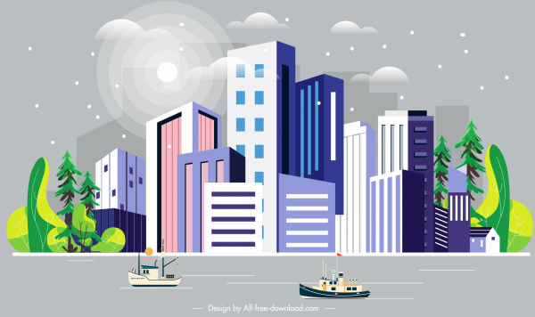 city scene painting colorful decor skyscrapers riverside sketch