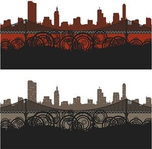 city silhouette trend element vector