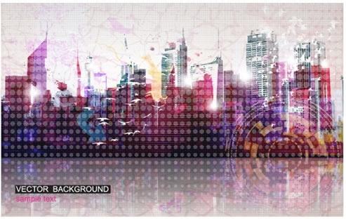 city background modern buildings sparkling light effect decor