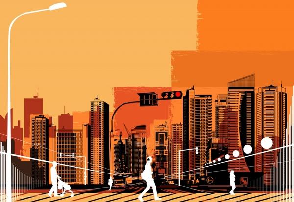 city background modern buildings decor pedestrian silhouette sketch