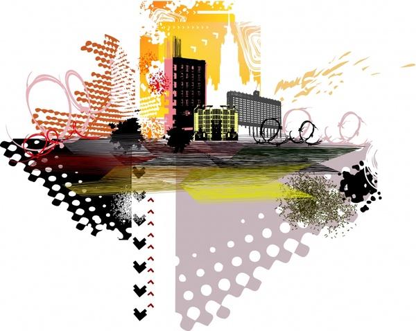 city background colorful grunge decor