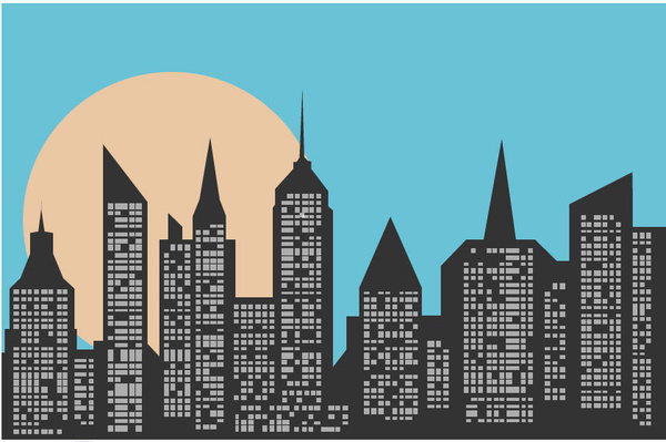 city skyline free vector in adobe illustrator ai ai vector