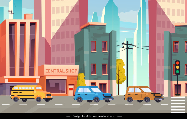 cityscape background colorful modern design