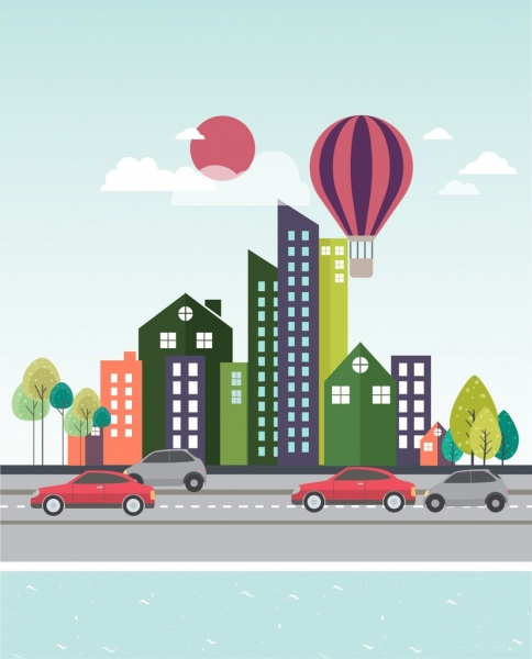cityscape drawing high buildings traffic balloon icons