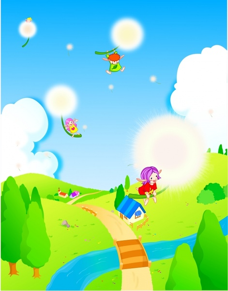 fairy painting playful angels dandelion icons colored cartoon