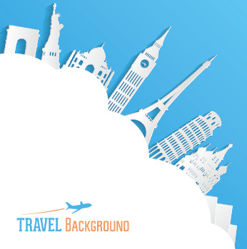Classic Buildings With Travel Background Vector Free