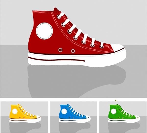 CLASSIC CHUCKS allstar sneakers set illustration vector minimil