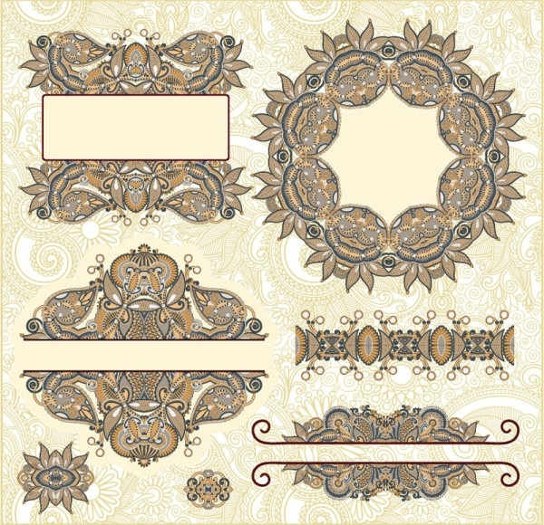classic decorative patterns elements 02 vector