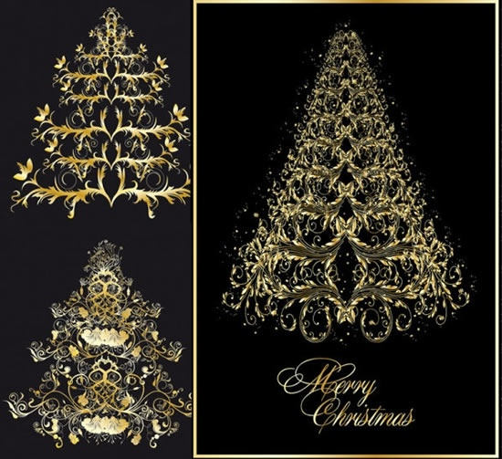 christmas backgrounds fir tree icons dark golden design