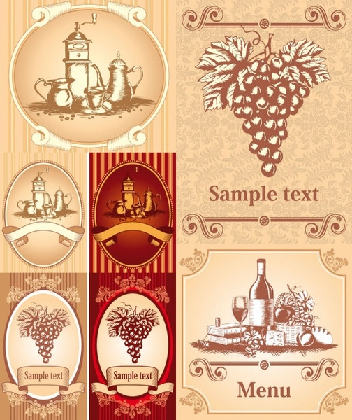 classic europeanstyle wine bottle stickers vector