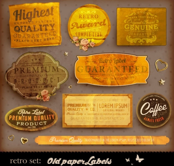 classic label stickers 04 vector