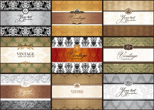 classic pattern cards background 01 vector