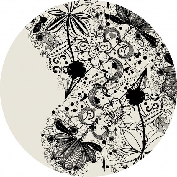 doodle flowers background black white flat circle isolation