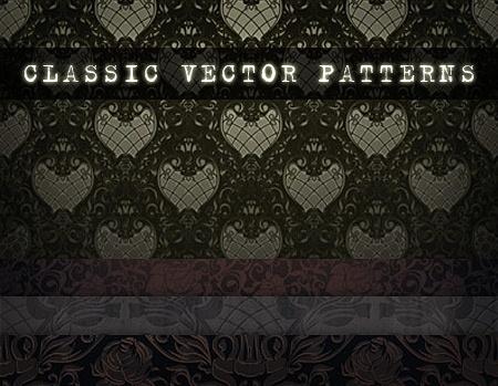 classic patterns background sets dark curves decoration
