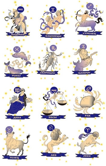 Zodiac sign icons classical characters animals objects