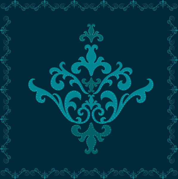classical border template dark blue design seamless style