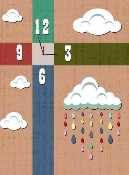 classical clock background cloud rain drop icons
