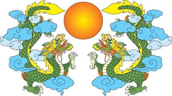 dragon background symmetric design classical oriental icons