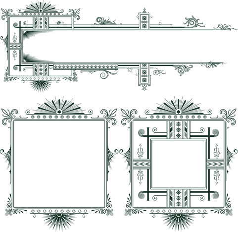 classical europe styles frame with borders vectors