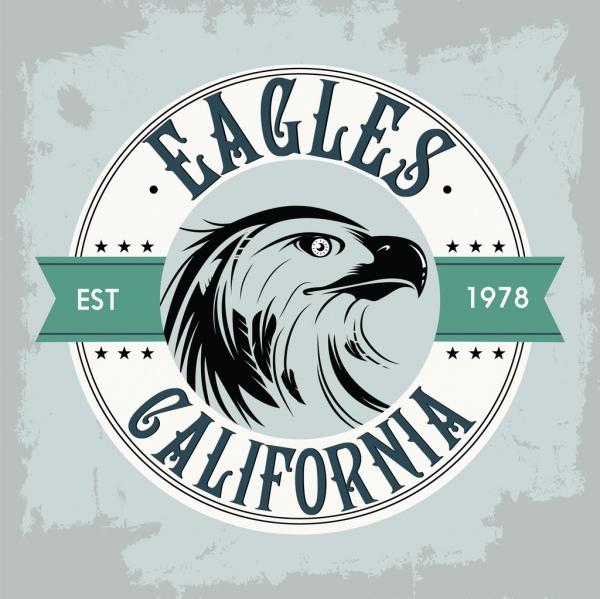classical label template eagle icon flat retro design