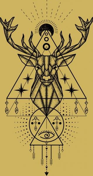 classical tattoo template reindeer moon geometric design