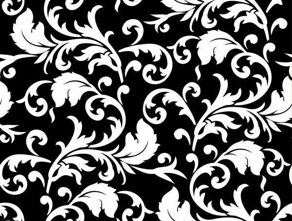 nature patter classical black white design leaves decor