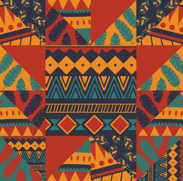 classical tribal pattern flat colorful abstract decor
