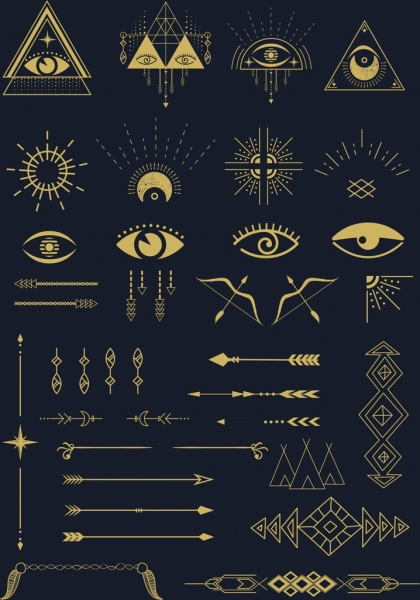classical tribe design elements arrows eyes sun icons