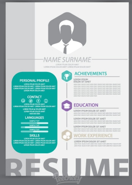 Clean and simple resume template Free vector in Adobe Illustrator ai ...
