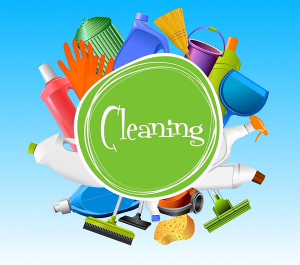cleaning banner various colored tools decor