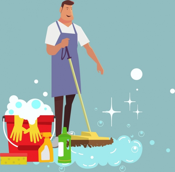 cleaning service background male icon washing tools decoration