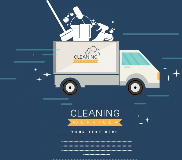cleaning service banner truck housework tools icons ornament