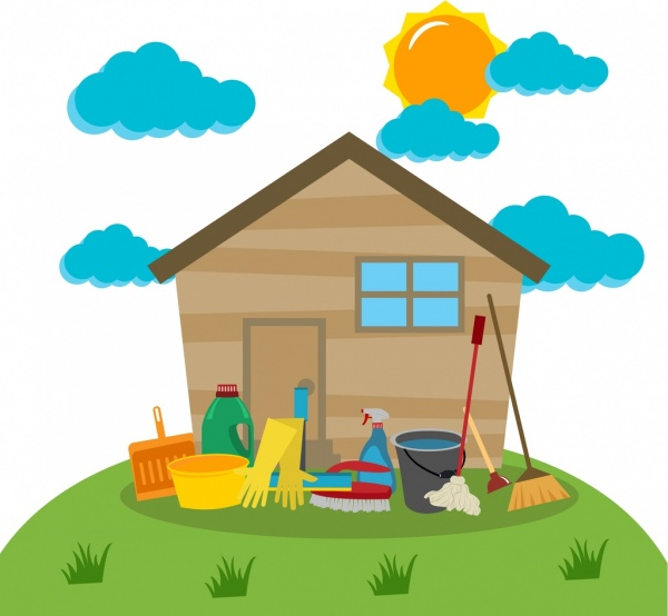 Cleaning Tools Design Elements Household Icons Colored