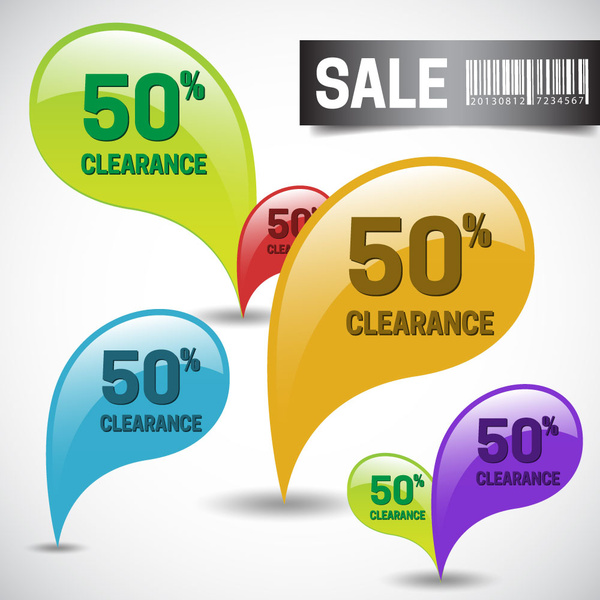 clearance sale design with colorful speech bubbles