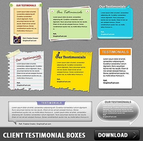 Client Testimonial Boxes Free PSD