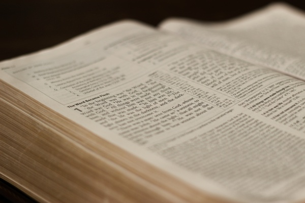 close up of text on open bible
